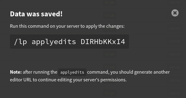 Écran indiquant la commande à entrer sur le serveur pour appliquer les changements effectués.